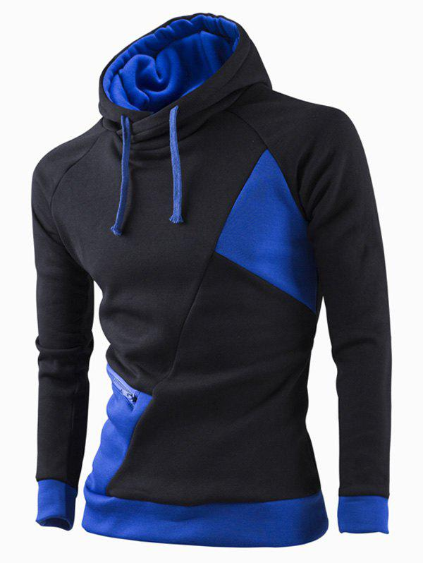 Inclined Zipper Classic Color Lump Splicing Rib Hem Slimming Hooded Long Sleeves Men's Hoodie - SAPPHIRE BLUE M