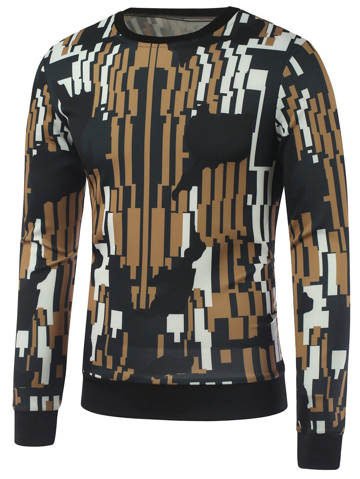 Crew Neck Abstract Print Sweatshirt - COLORMIX M