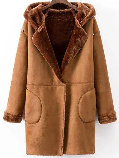 Faux Shearling Coat With Pockets - CAMEL M