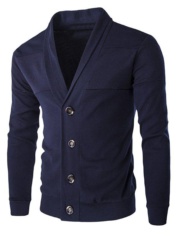 Single-Breasted Color Splicing Turn-down Collar Long Sleeves Slimming Men's Casual Cardigan - CADETBLUE XL