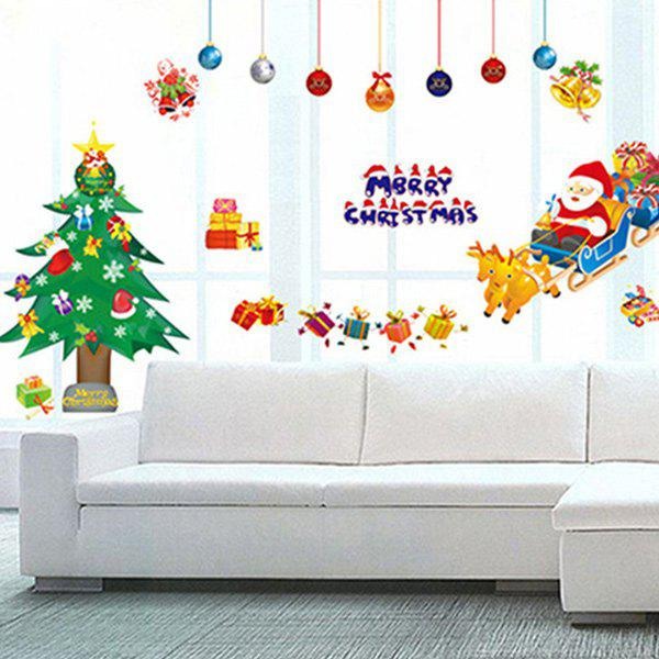 2018 christmas tree removable diy window christmas wall stickers colorful in wall stickers. Black Bedroom Furniture Sets. Home Design Ideas