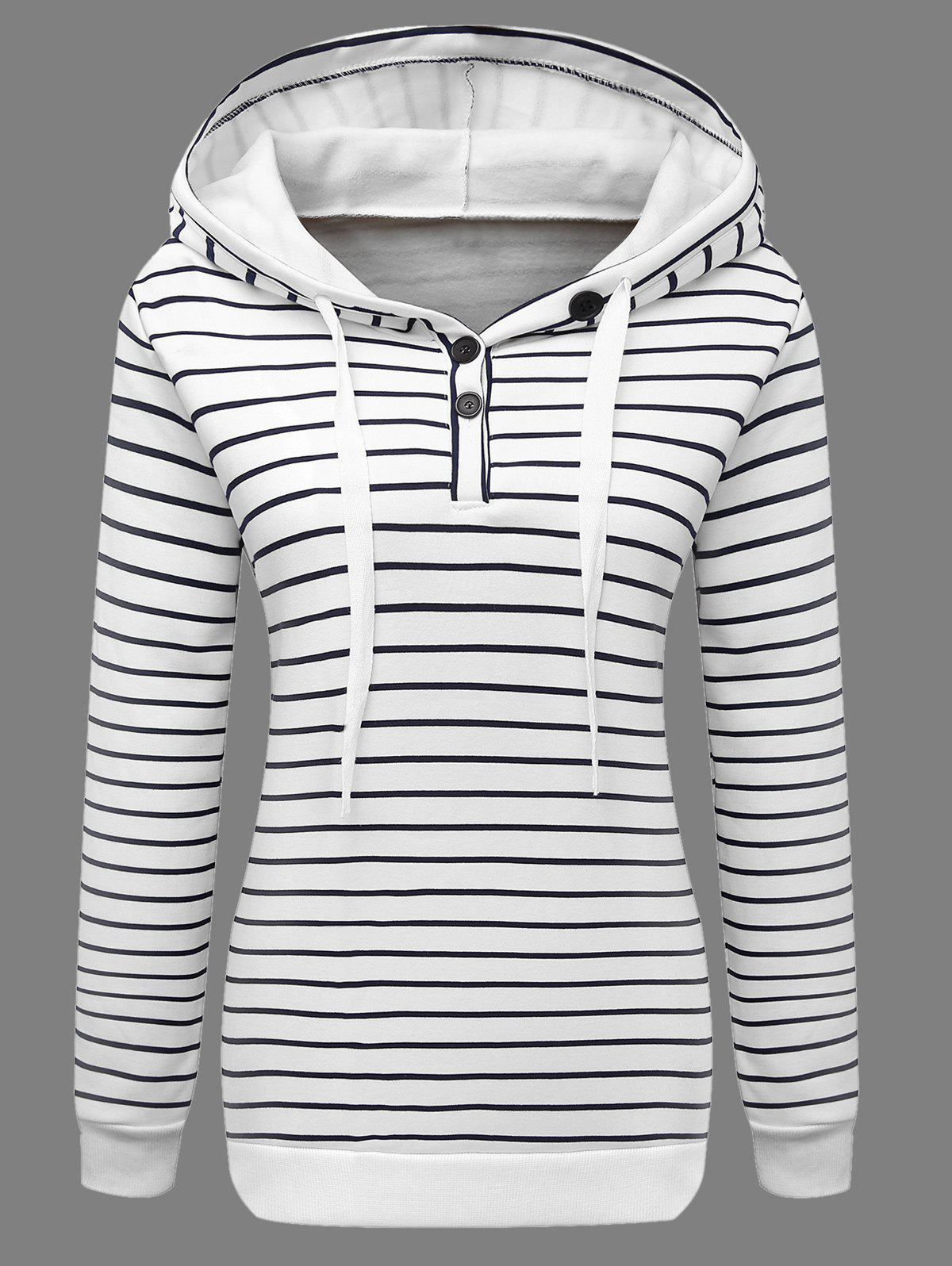 Buttoned Striped Drawstring HoodieWomen<br><br><br>Size: 2XL<br>Color: WHITE