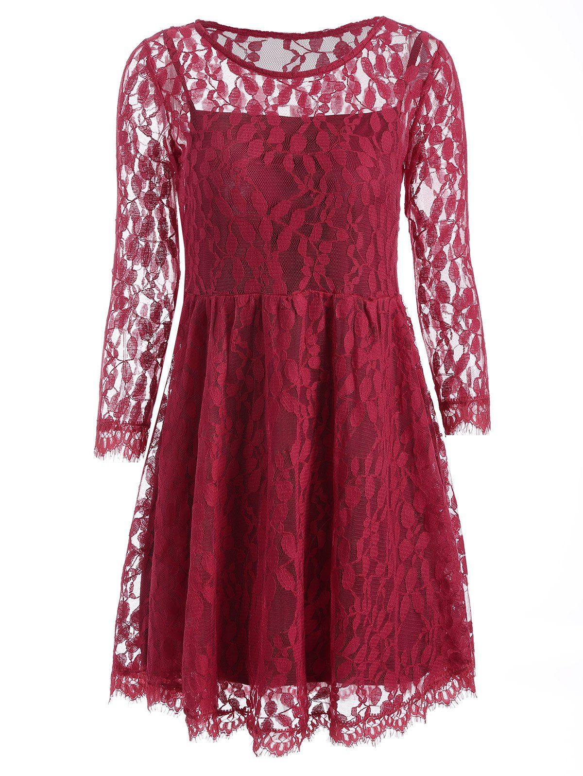 Cami Dress and A-Line Lace Dress - WINE RED S