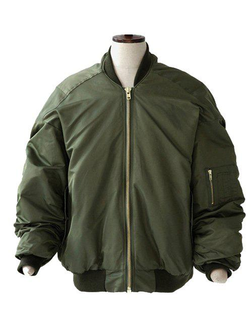 Buy Rib Splicing Stand Collar Cotton-Padded Jacket ARMY GREEN