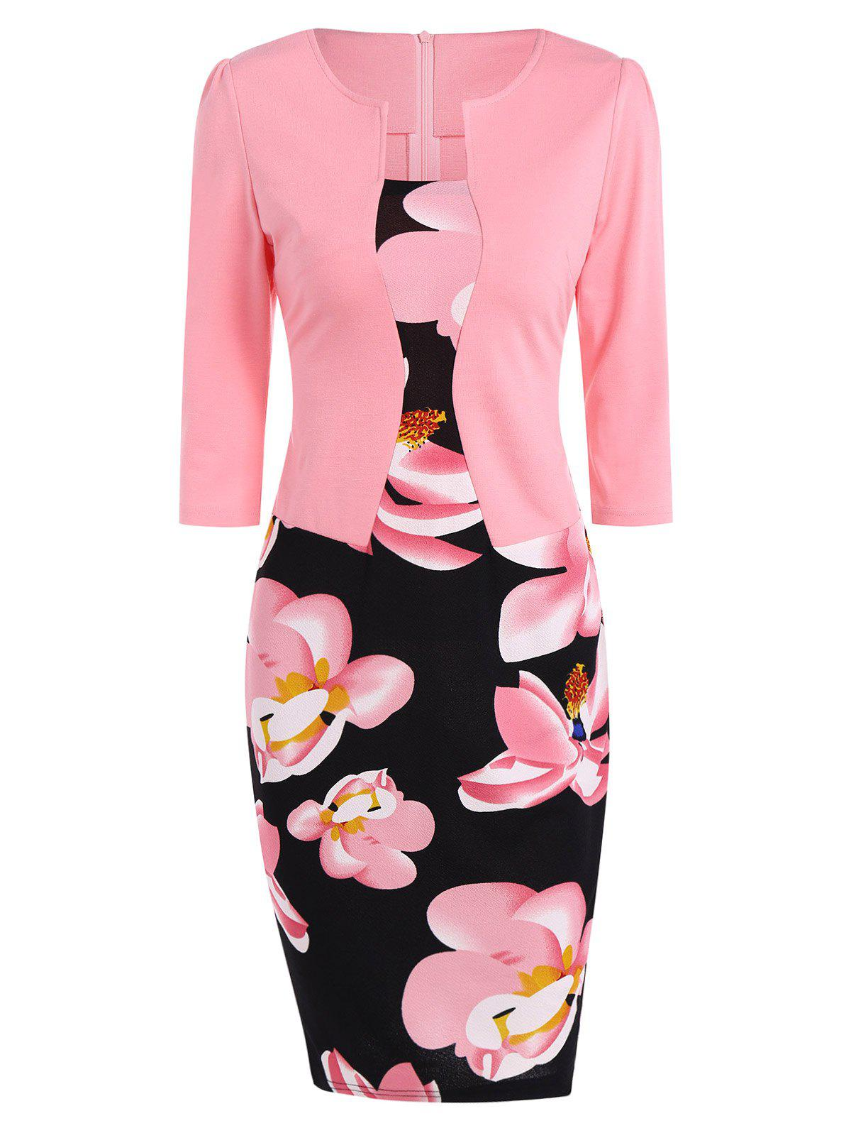 Floral Sheath Knee Length Pencil Work Dress - PINK XL