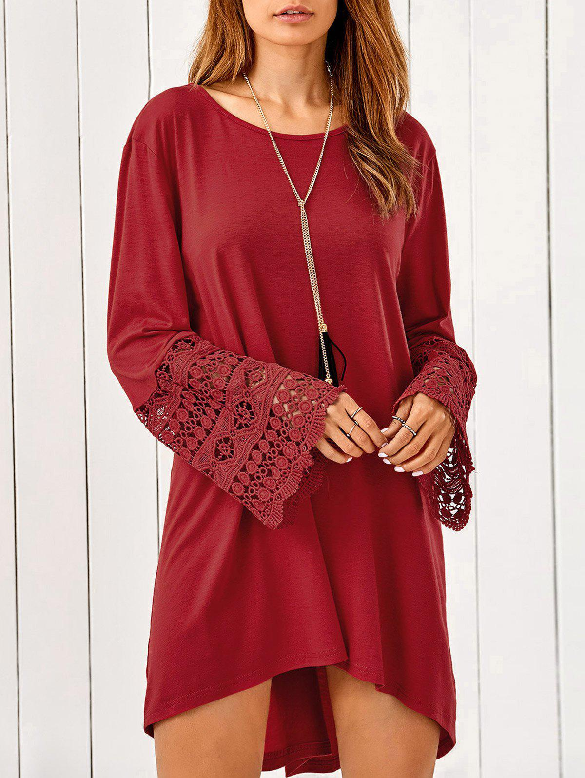 Lace Trim Long Sleeve High Low Tunic Dress plaid trim tunic top