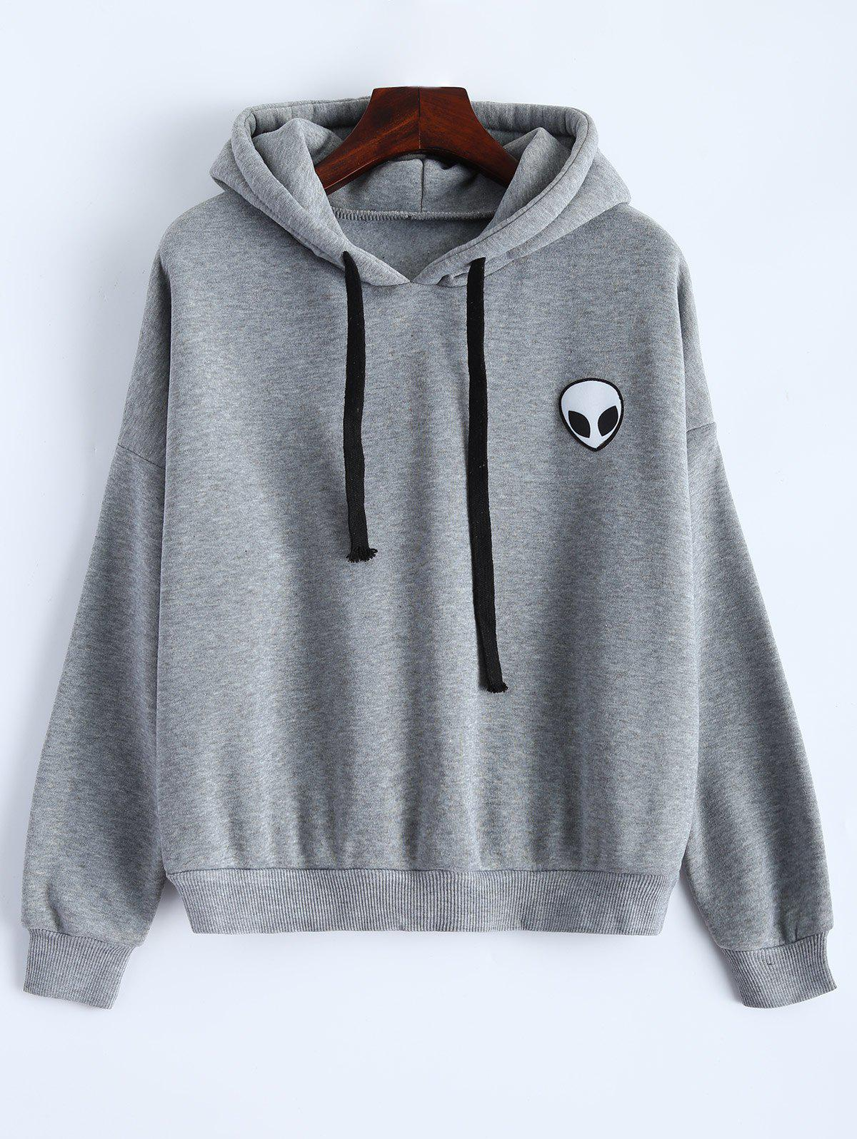 Sporty Long Sleeve Drawstring Alien Pattern HoodieWomen<br><br><br>Size: ONE SIZE<br>Color: GRAY