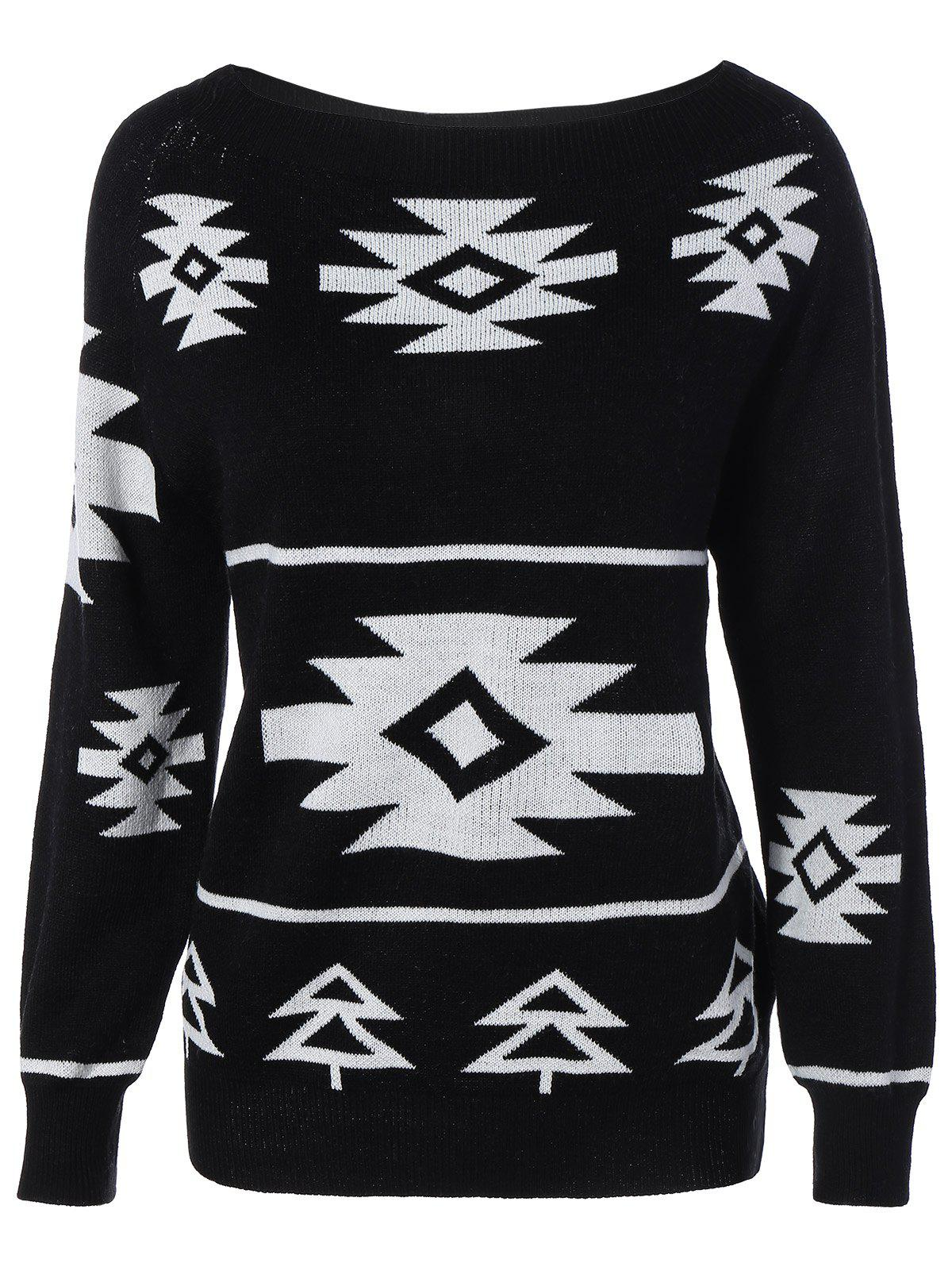 Long Sleeve Geometric Pullover Convertible Sweater - BLACK S