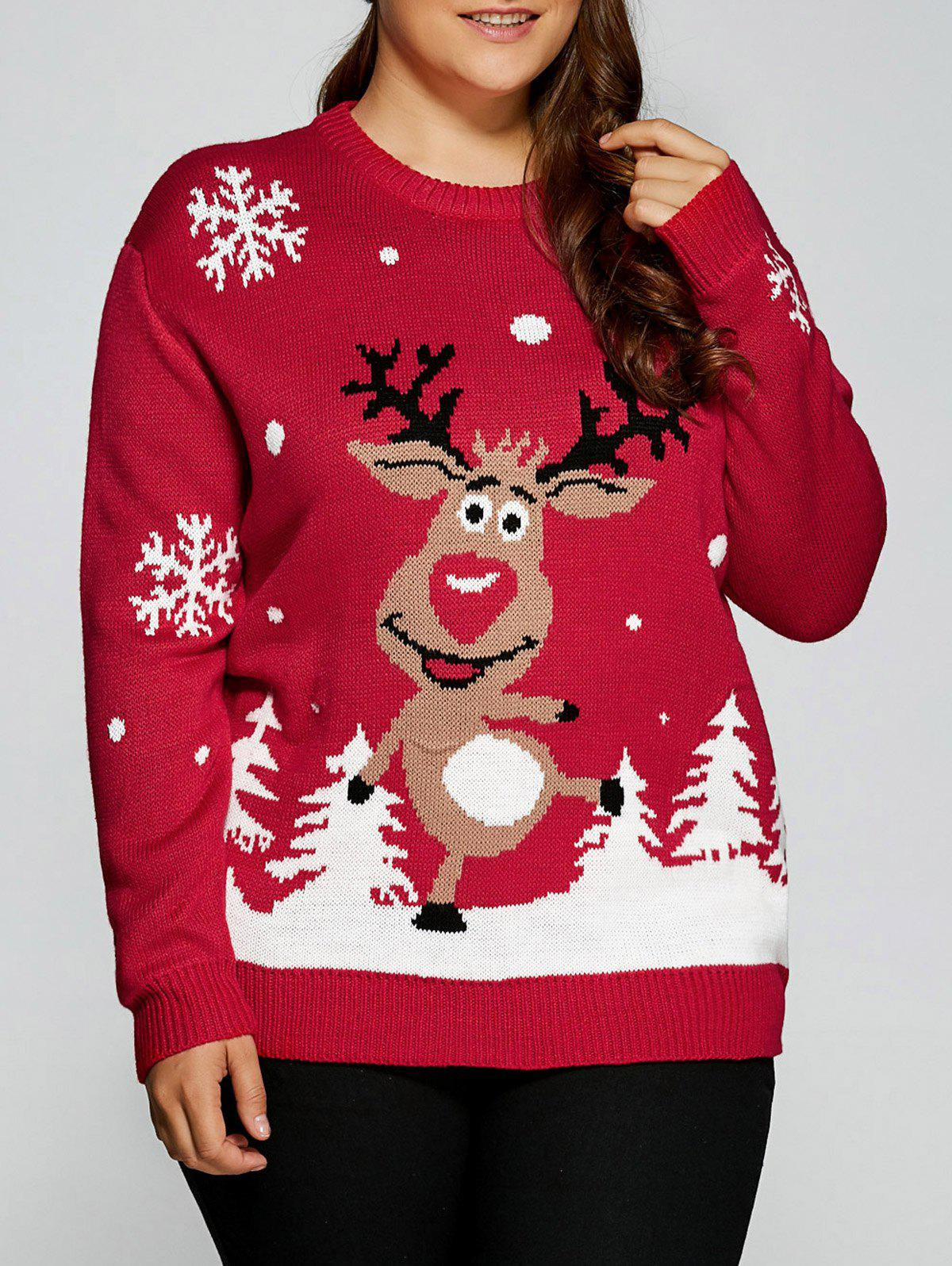 2018 Plus Size Snowflake Fawn Christmas Sweater RED XL In Plus ...