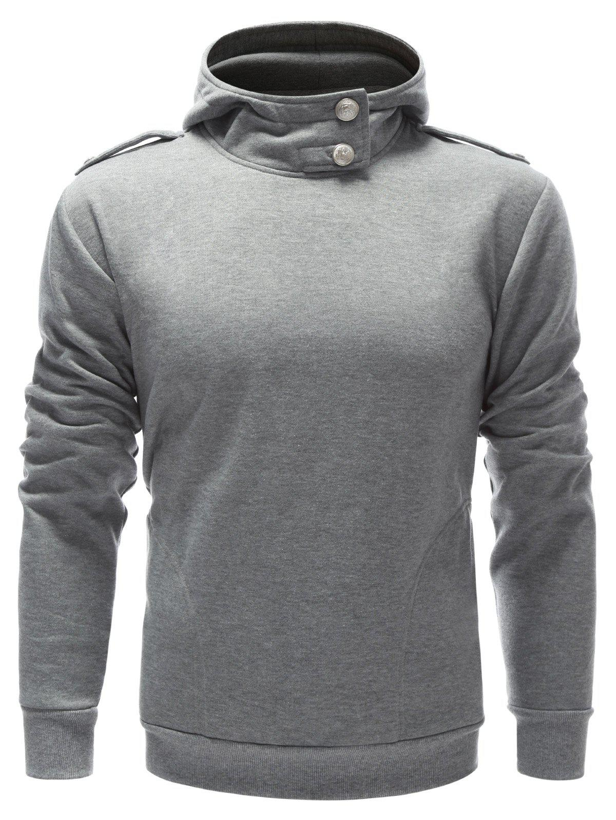 Buttoned Epaulet Design Plain Hoodie - GRAY S