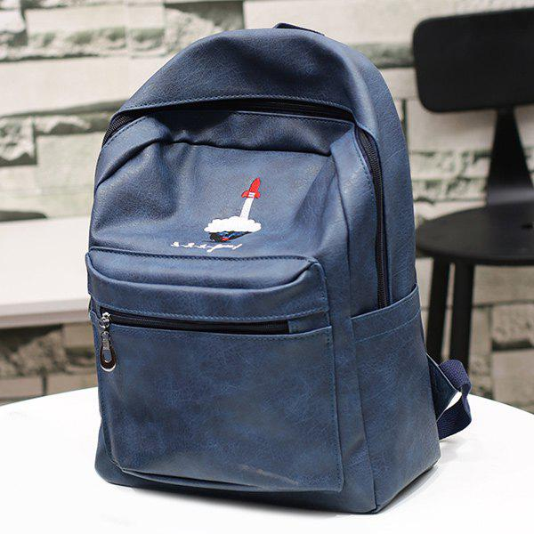 Zippers PU Leather Embroided BackpackBags<br><br><br>Color: CADETBLUE