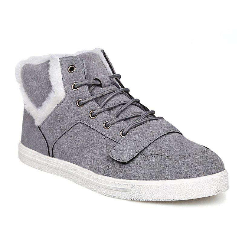 Fuzzy Suede Ankle Boots - GRAY 44