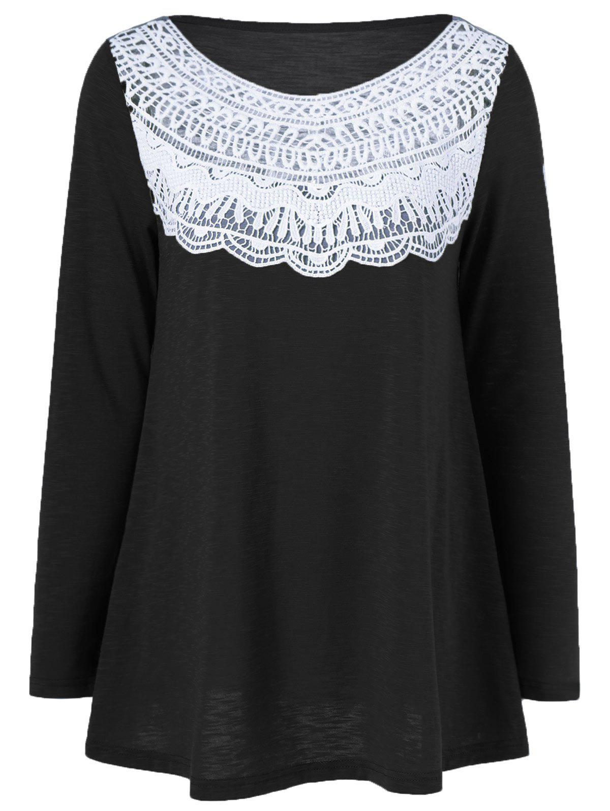 Lace Splicing Pleated T-Shirt - BLACK L