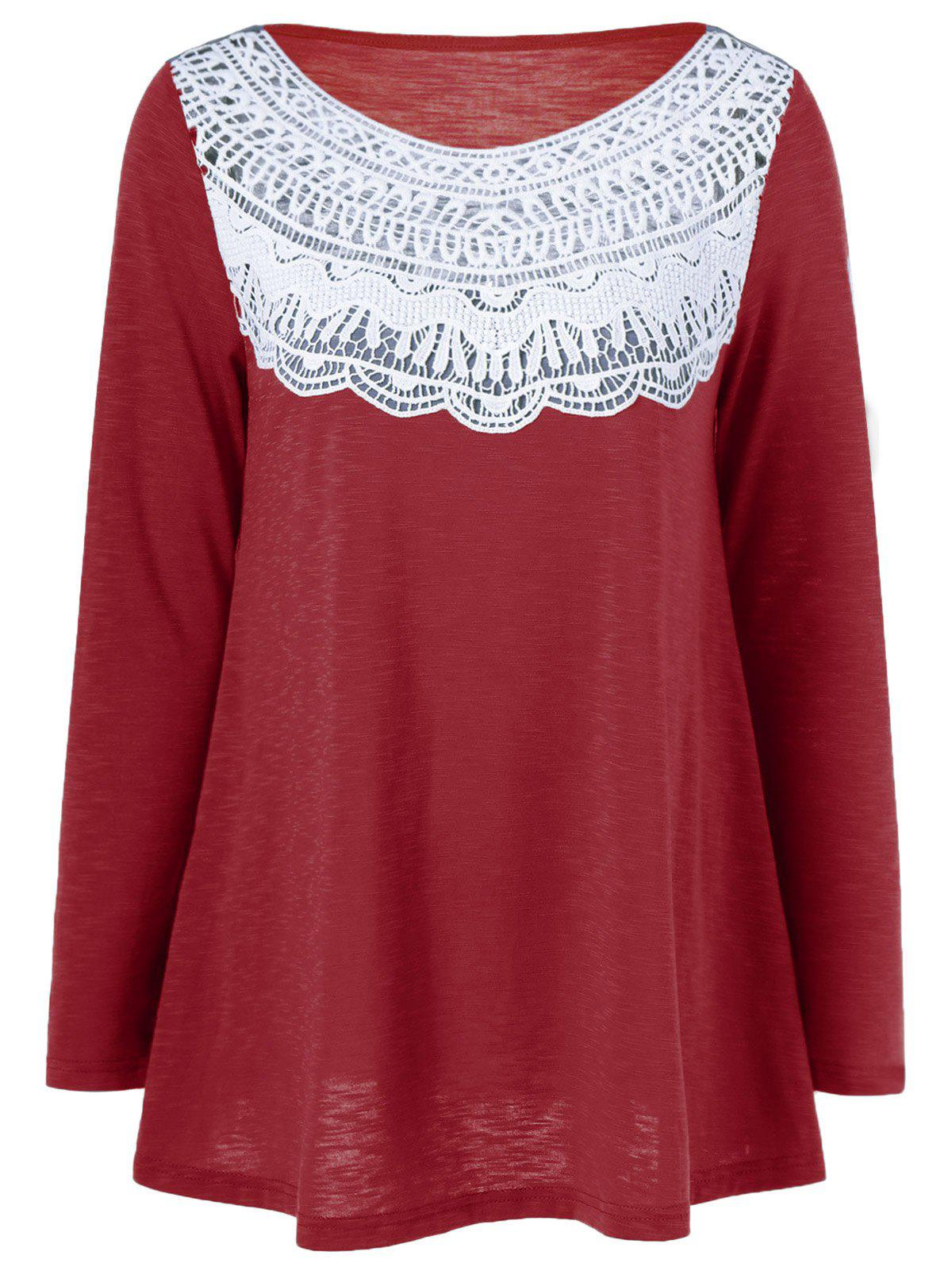 Lace Splicing Pleated T-Shirt - RED M
