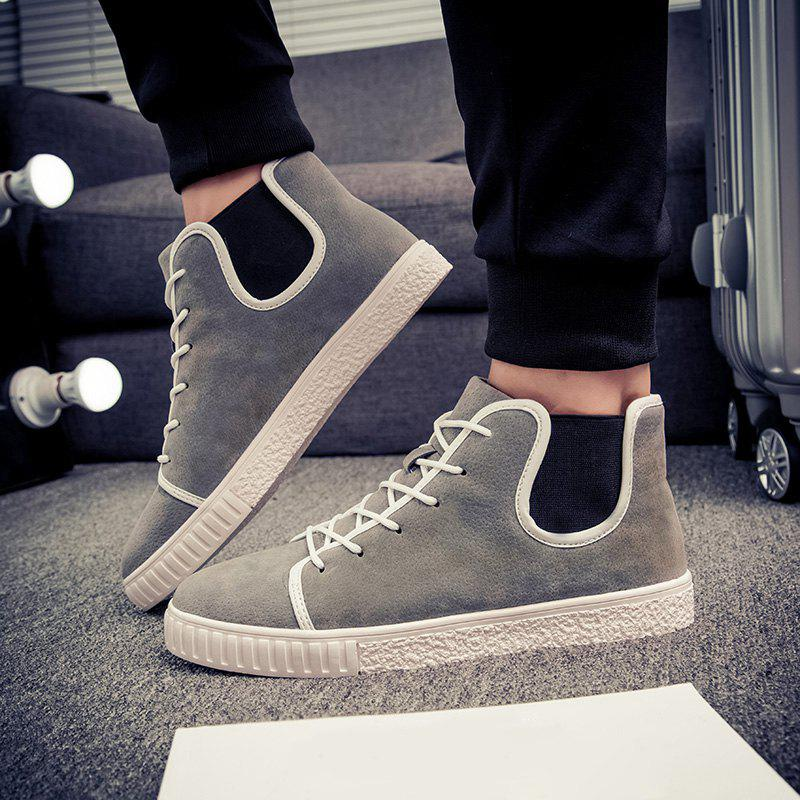 Lace Up Suede Ankle Boots - GRAY 44