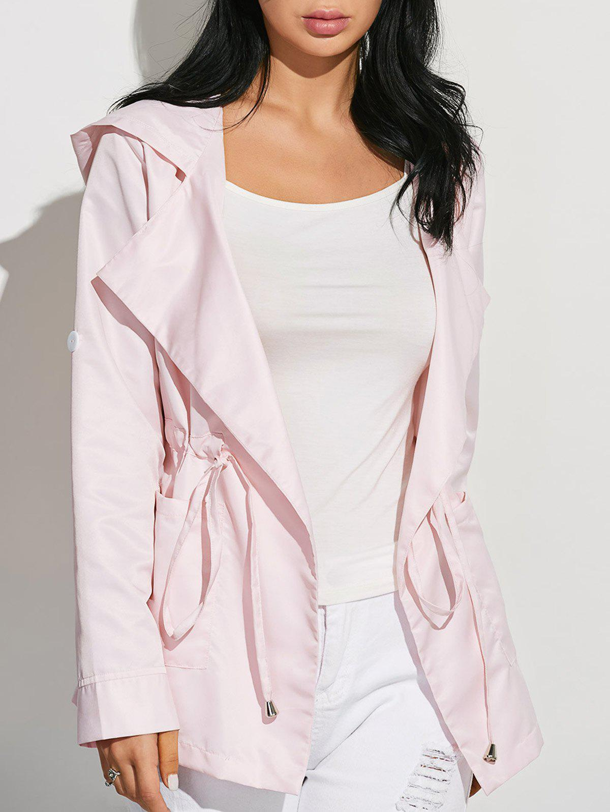 Drawstring Waist Hooded Casual Trench Jacket blue hooded trench coat with drawstring waist