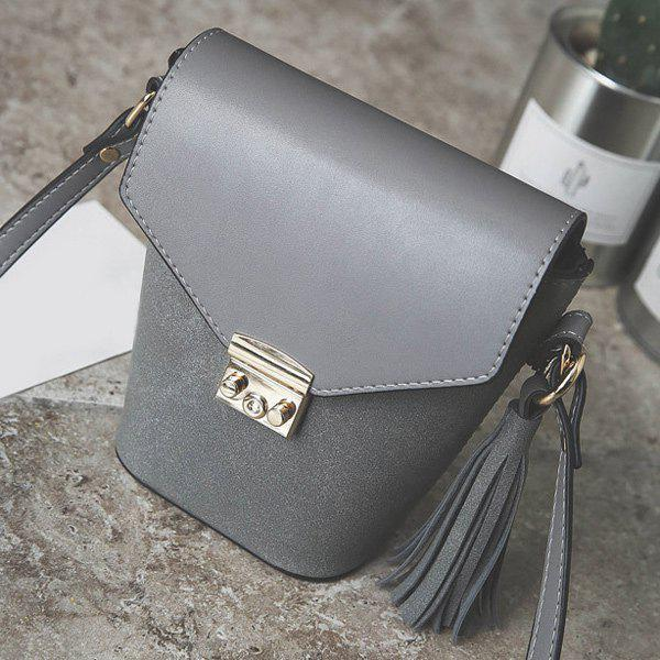 Covered Closure Metal Tassels Crossbody Bag