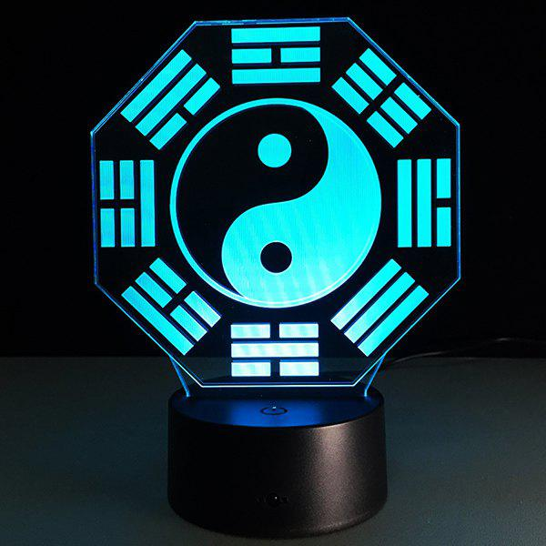 3D Bulbing Light Diagrams Pictures 7 Color Changing Night Light - WHITE/BLACK