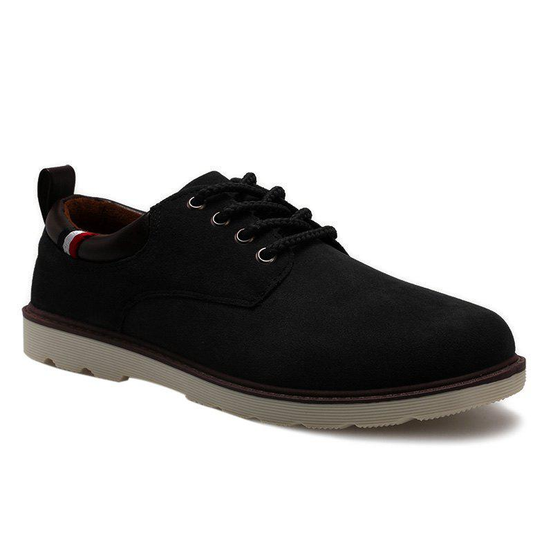 Lace Up Suede Casual Shoes - BLACK 42