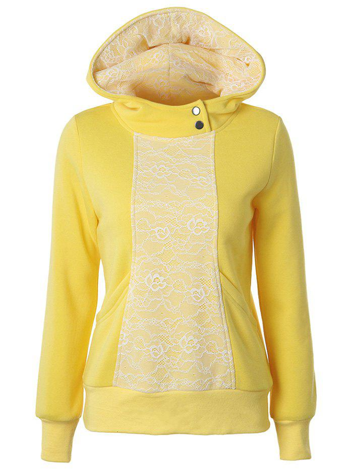 Lace Detail Pullover Yellow Hoodie - YELLOW 2XL