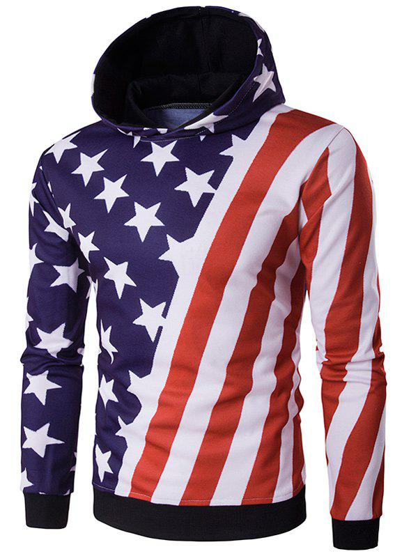 3D Stars and Oblique Stripes Print Hooded Hoodie 3d christmas tree and stars print flocking hoodie