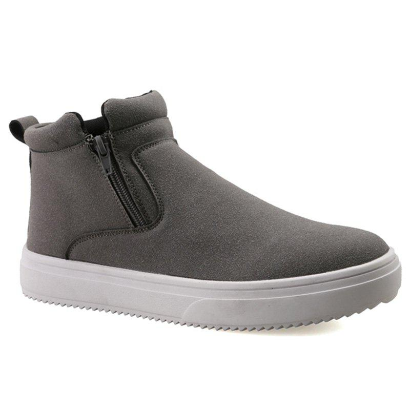 Suede Double Zips Ankle Boots - GRAY 44