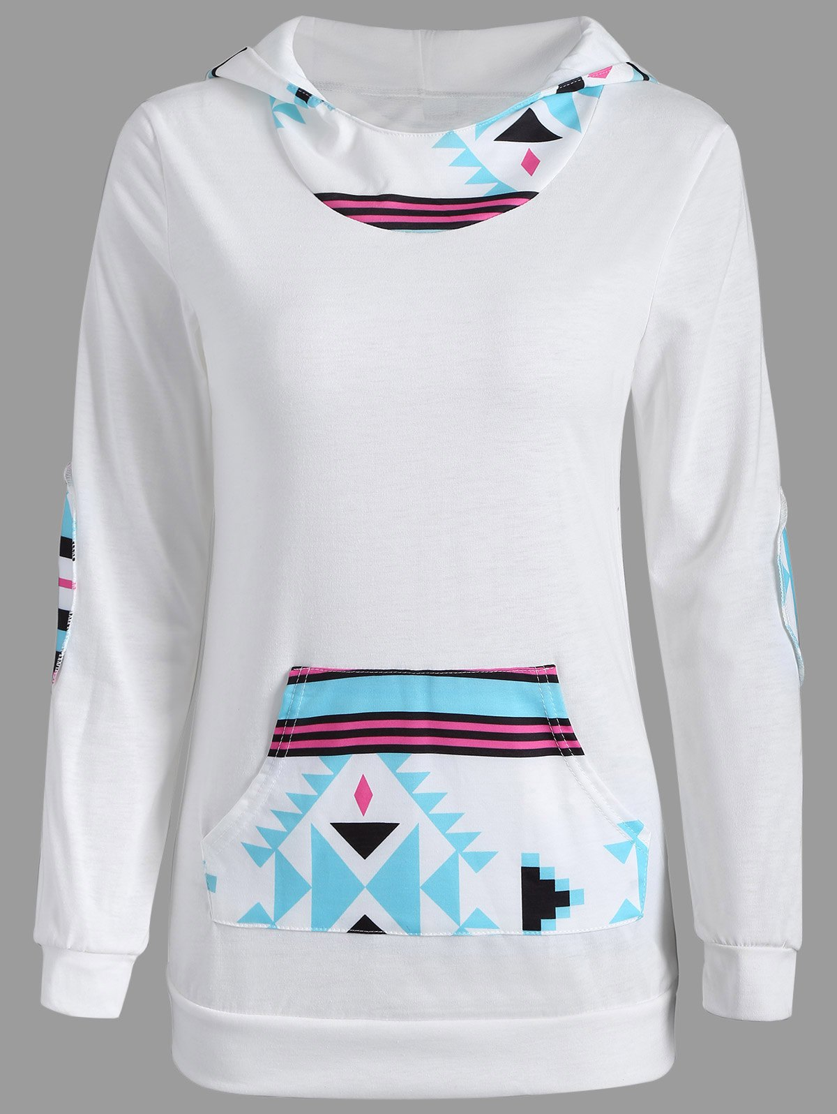 Long Sleeve Geometric Print Pullover HoodieWomen<br><br><br>Size: M<br>Color: WHITE