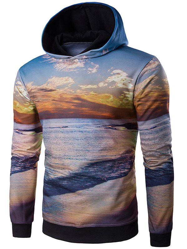 3D Dusk and Beach Print Hooded Hoodie - COLORMIX L
