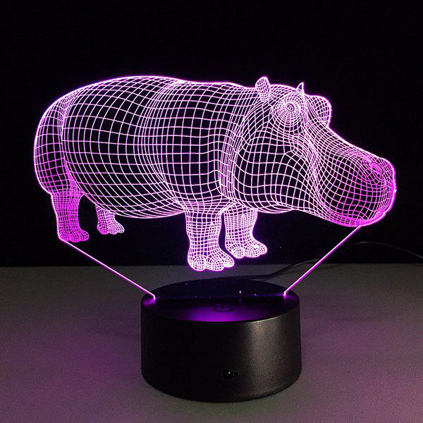 3D Hippo 7 Color Changing Night Light - TRANSPARENT