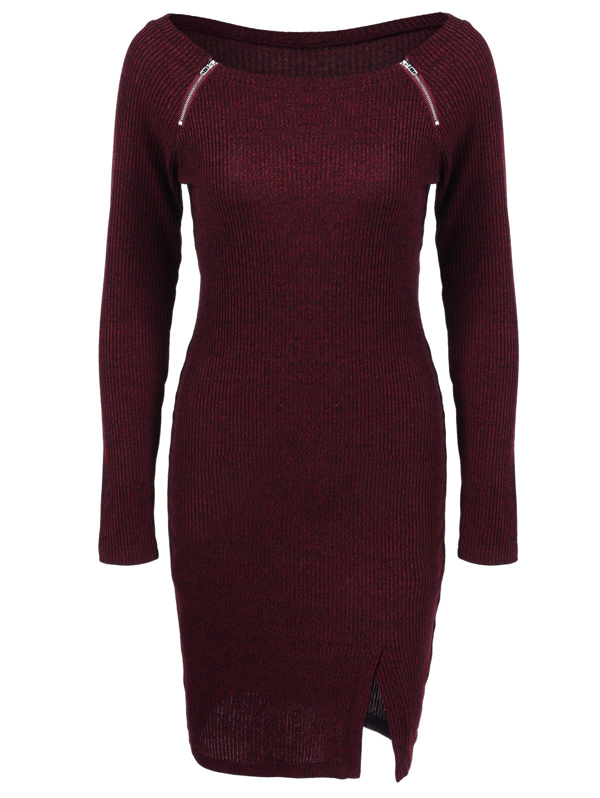 Zippers Embellished Ribbed Pencil Casual Dress Winter - DEEP RED L
