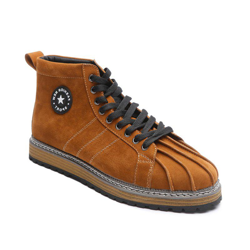 Shell Toe Lace Up Ankle Boots - BROWN 42