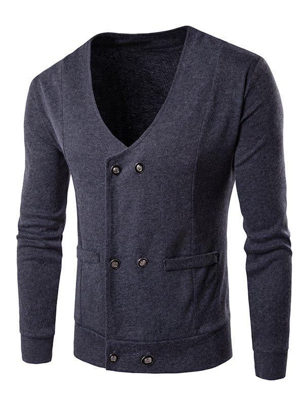 Double Breasted V Neck Knitting Cardigan - GRAY XL