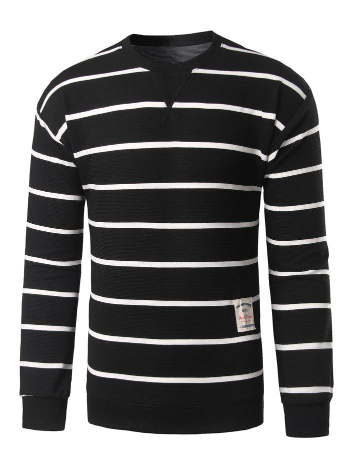 Notch Neck Patch Design Striped Sweatshirt - BLACK L