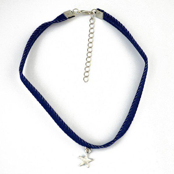 Star Embellished Adjustable Choker Necklace - BLUE