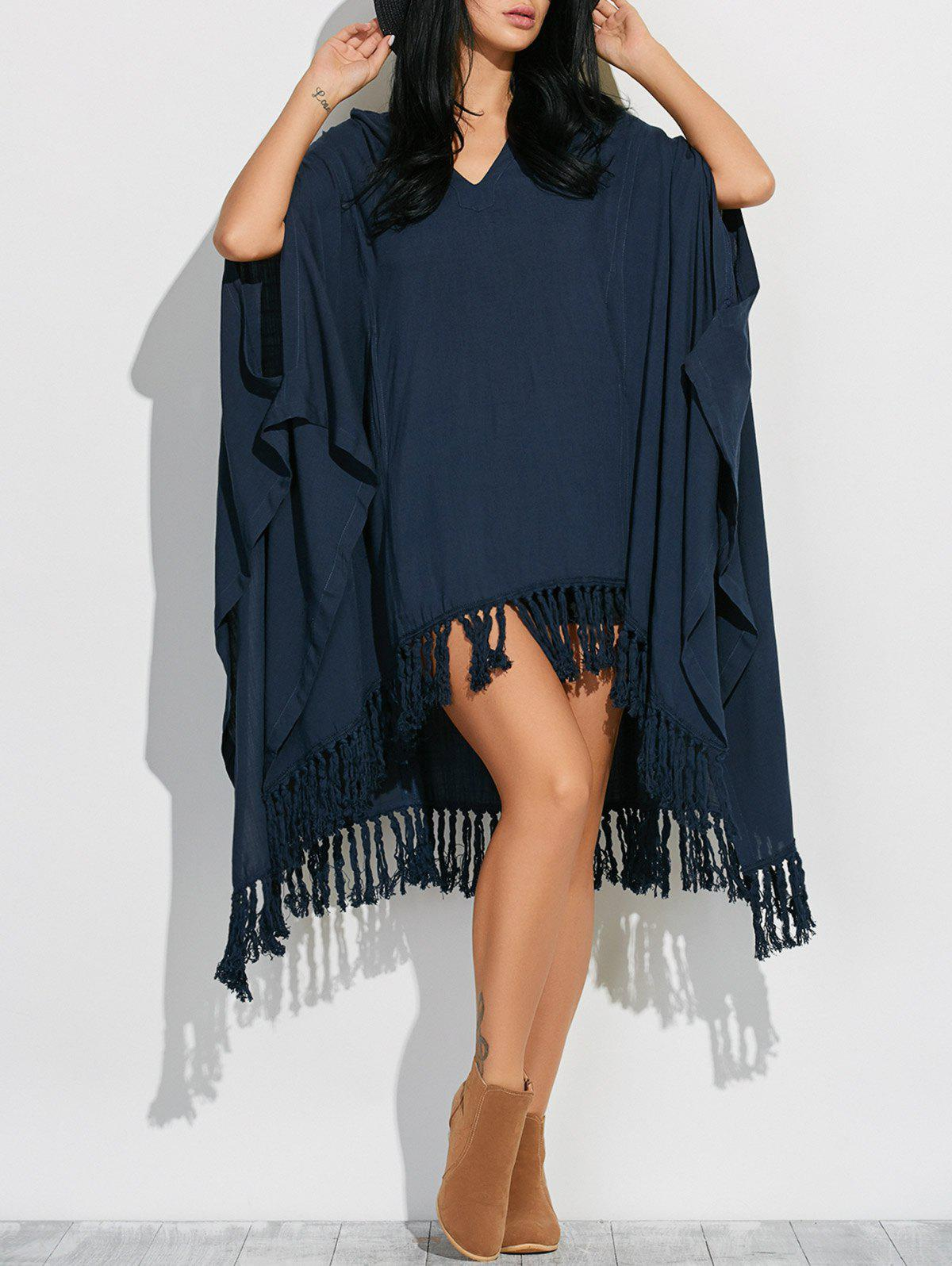 Side Slit Hooded Caped Poncho Dress - CADETBLUE S