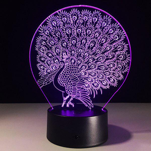 3D Peacock 7 Color Touch Changing Night Light - TRANSPARENT