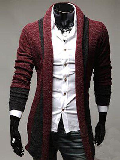 Longline Color Block Panel Knitting Cardigan - WINE RED L