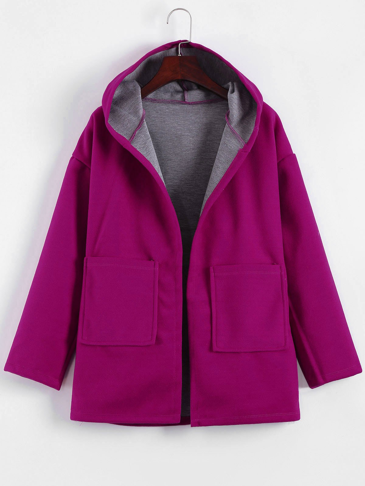 Plus Size Hooded Candy Color Long Open Front Coat от Dresslily.com INT