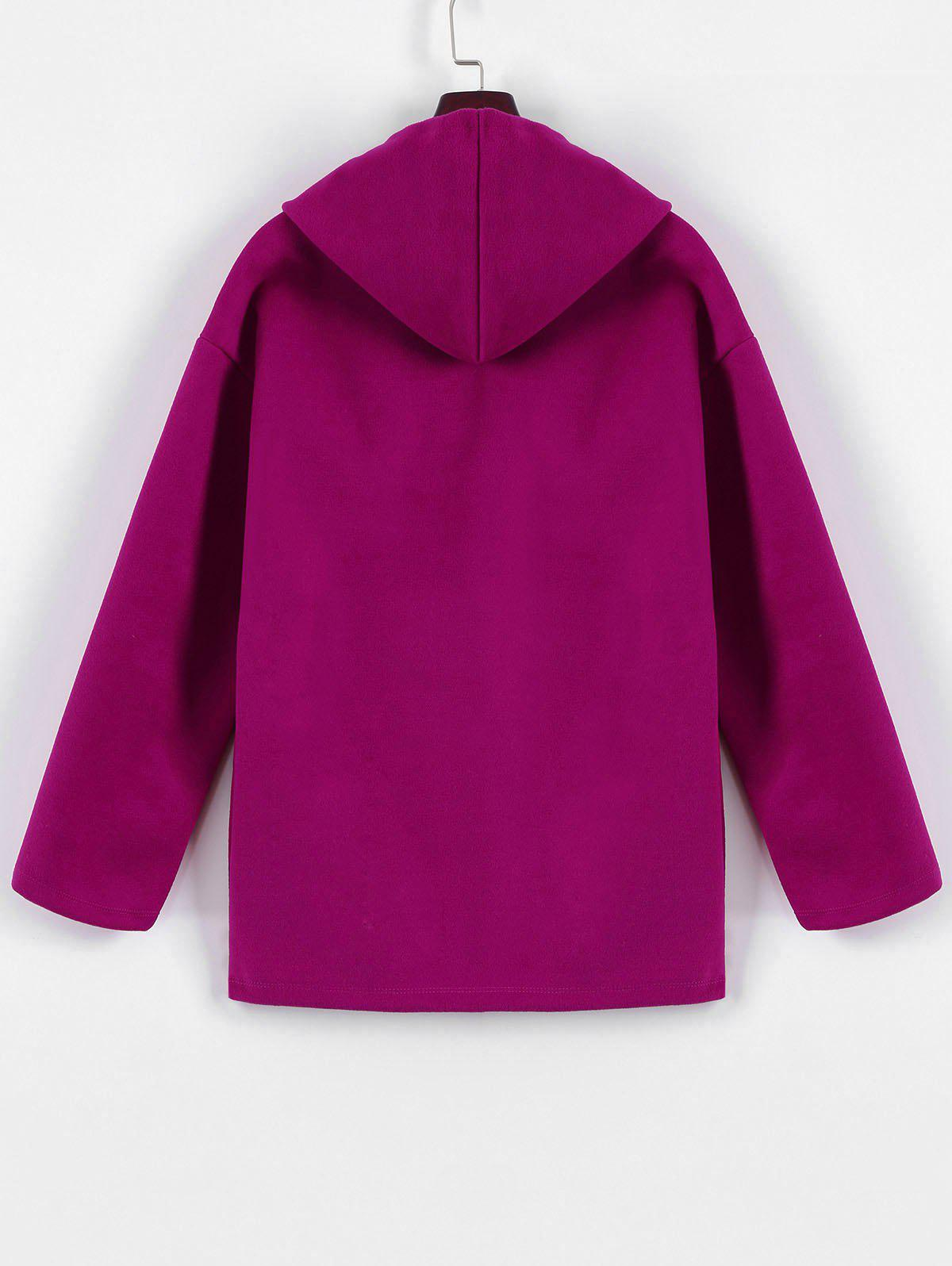 Plus Size Hooded Candy Color Long Open Front Coat - FUCHSIA ROSE 2XL