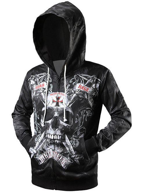 Drawstring Skull 3D Print Zip Up Hoodie - BLACK M
