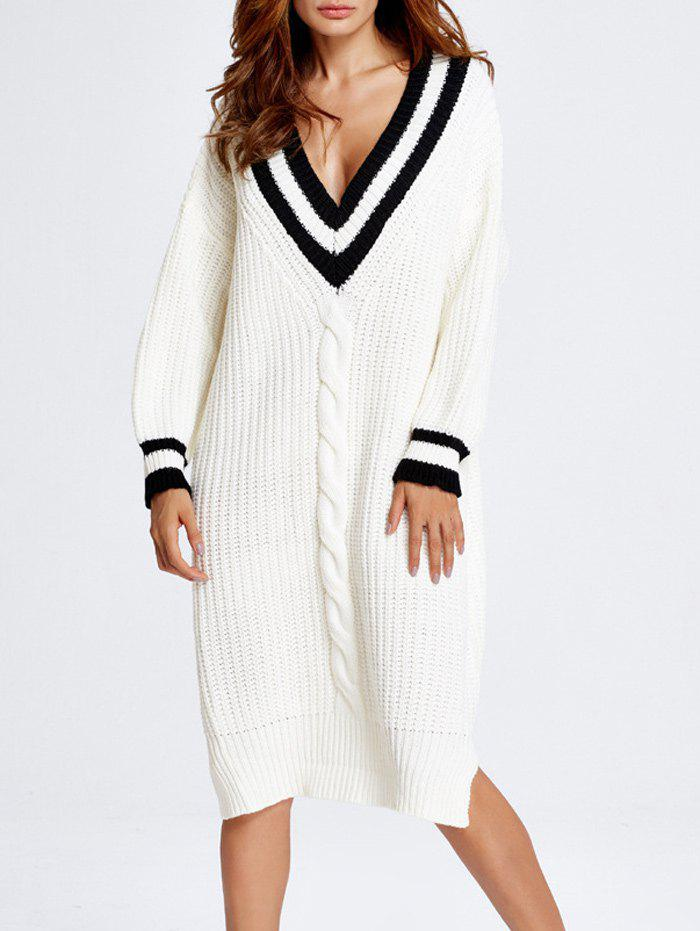 V Neck Oversized Slit Midi Sweater Dress - WHITE ONE SIZE