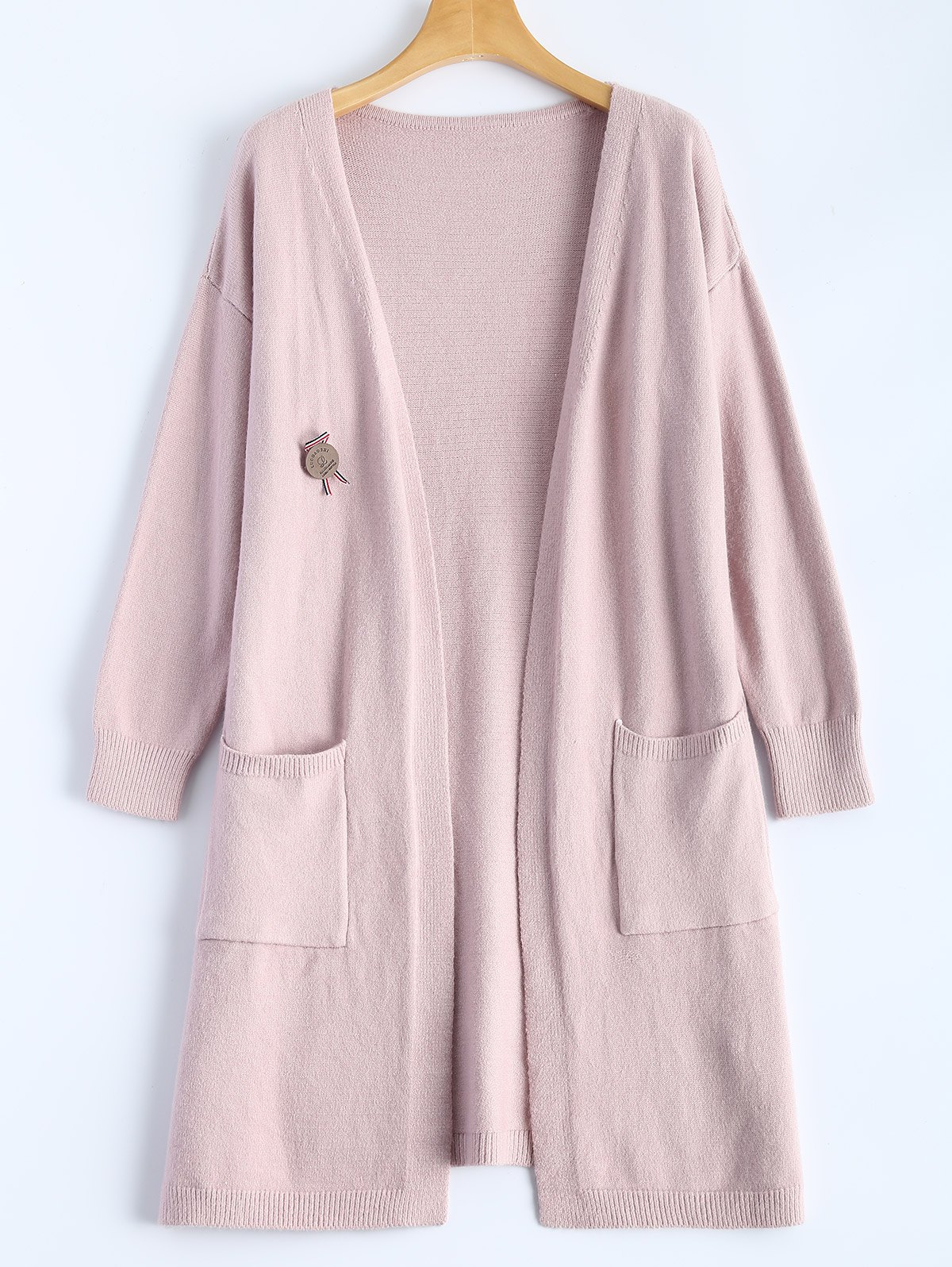 Casual Side Slit Long Knit Cardigan, LIGHT APRICOT PINK, ONE SIZE ...