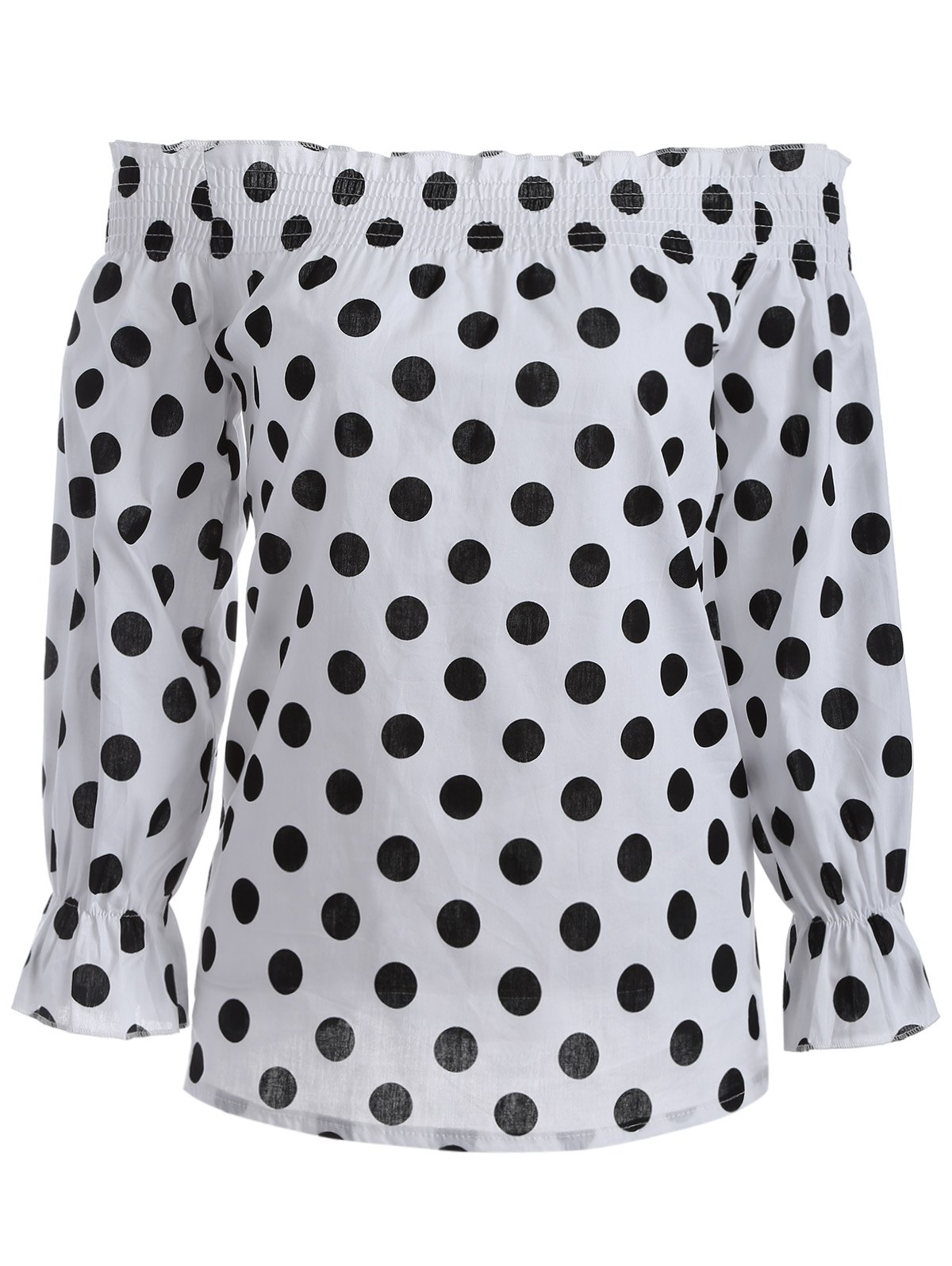 Off-The-Shoulder Polka Dot Blouse - WHITE/BLACK L
