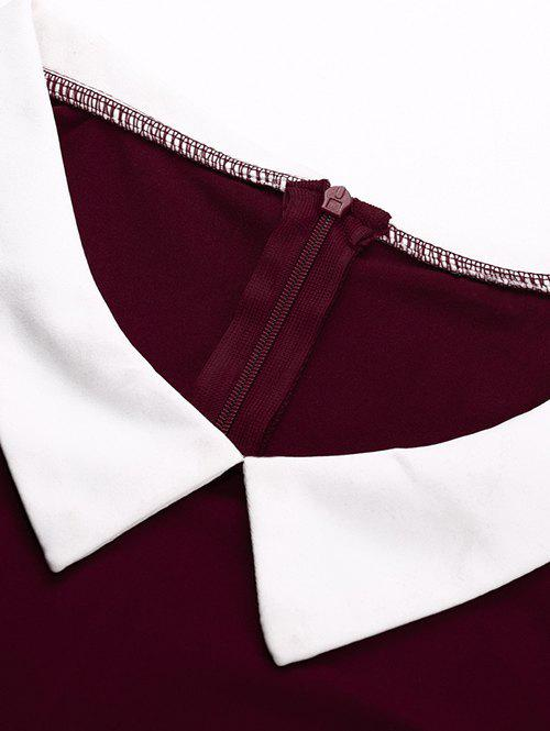 Fit and Flare Color Block Vintage Dress - WINE RED L