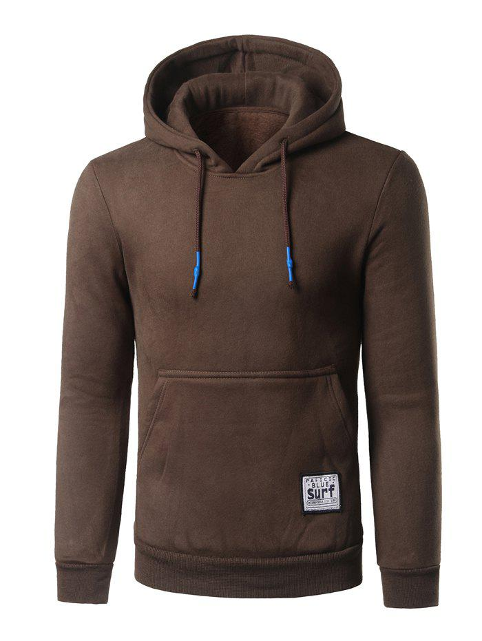 Kangaroo Pocket Surf Patch Pullover Hoodie - COFFEE M