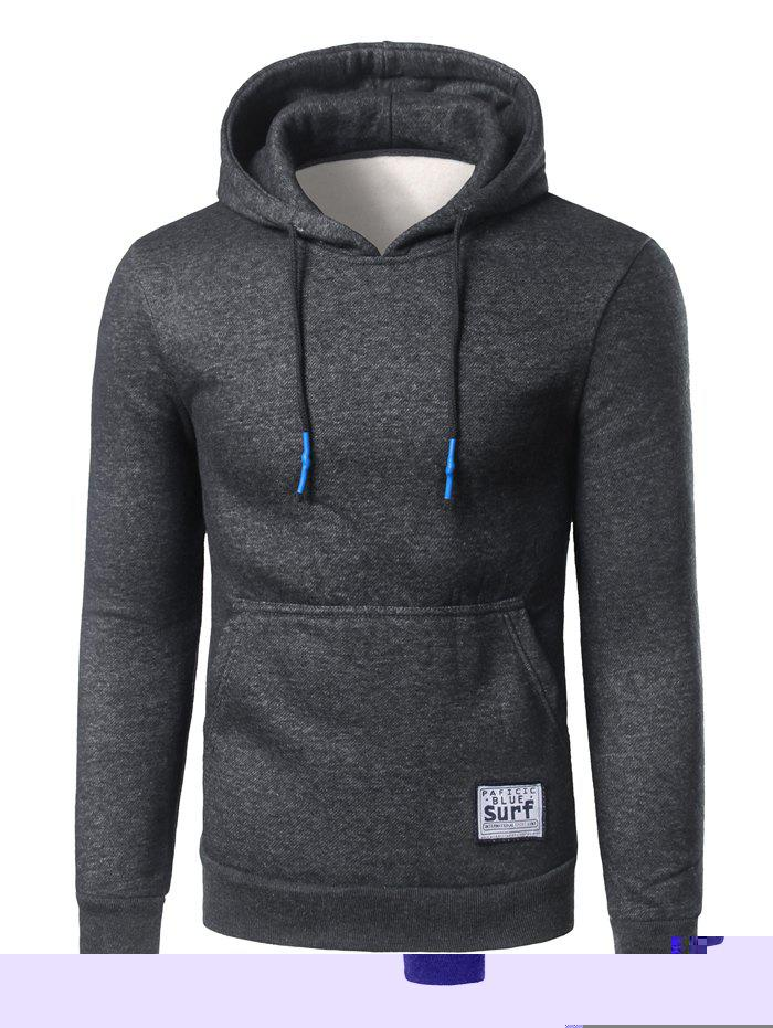 Kangaroo Pocket Surf Patch Pullover Hoodie - DEEP GRAY 2XL