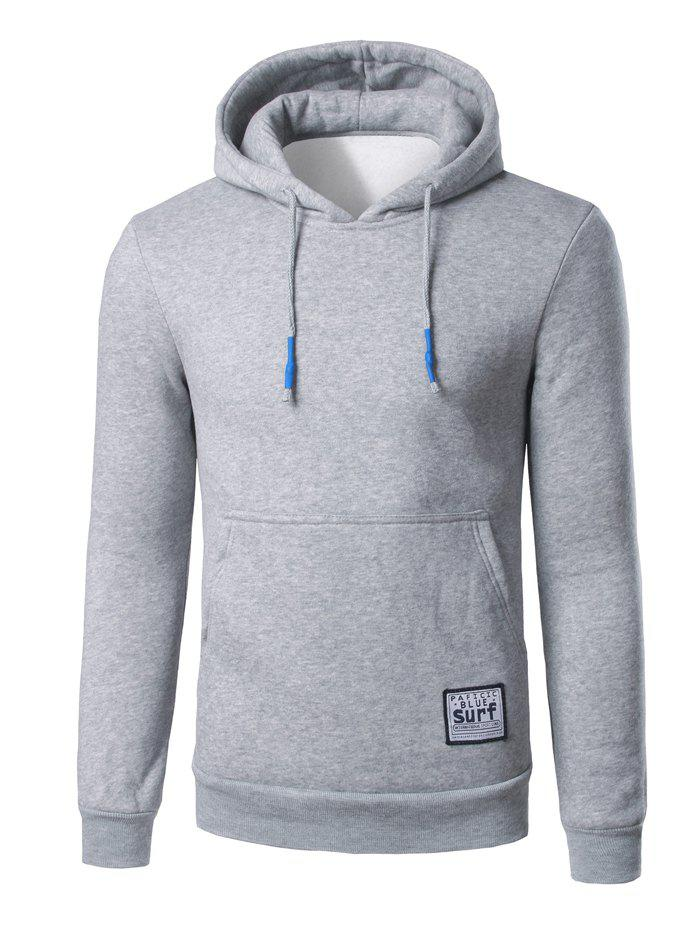 Kangaroo Pocket Surf Patch Pullover Hoodie - LIGHT GRAY M
