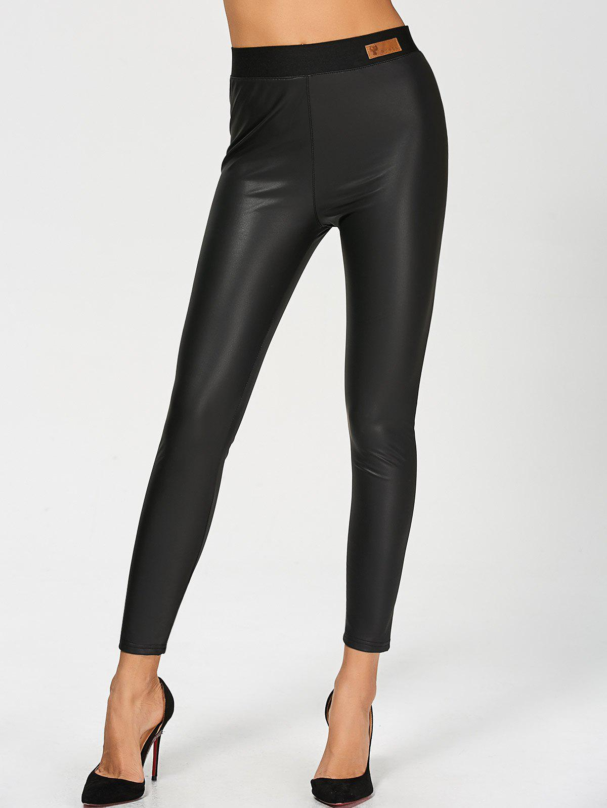 PU Leather High Waisted Ankle Skinny Pants - BLACK L