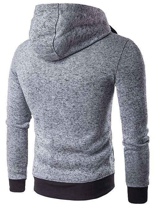 Hooded Drawstring Double Zipper Hoodie - LIGHT GRAY 2XL