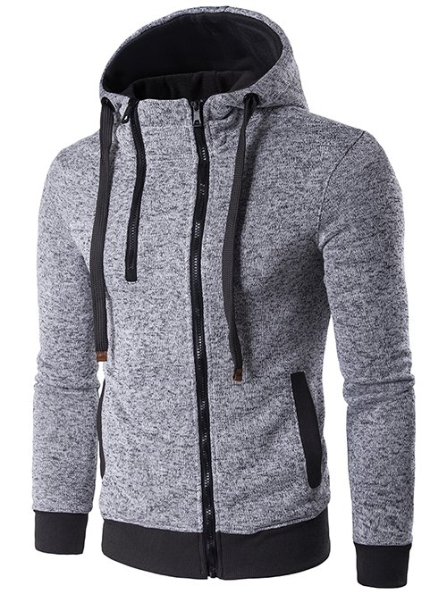 Hooded Drawstring Double Zipper Hoodie - LIGHT GRAY L
